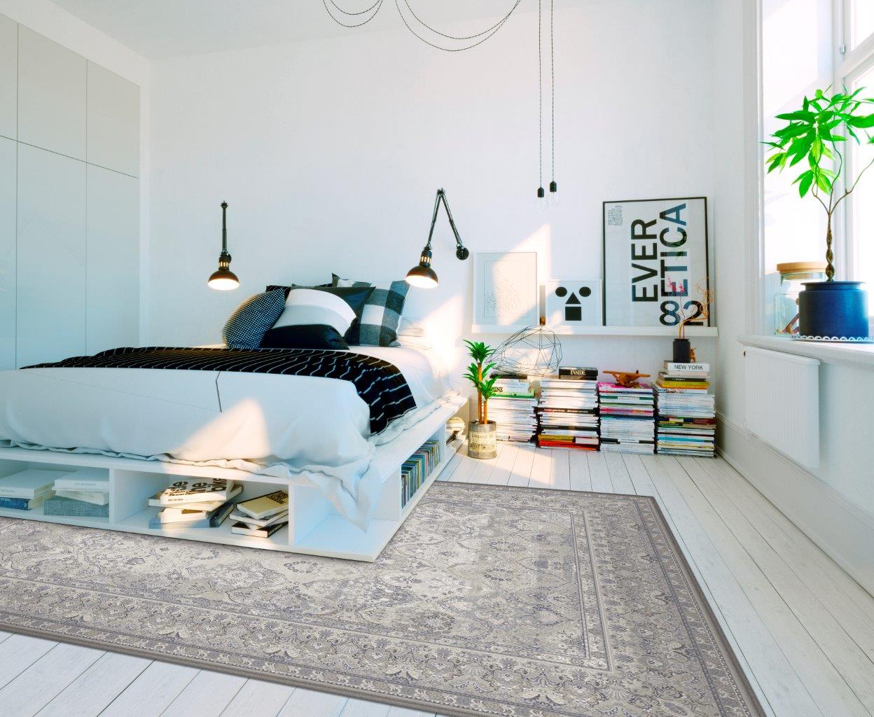 Modny dywanowy kontrast na podłodze